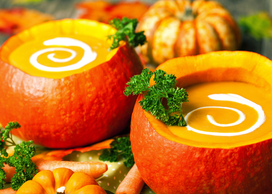 Pumpkin Soup Served as a part of Catering Menu for a Halloween Party