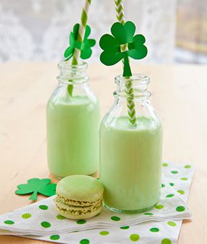 Green Milkshake and Green Macaroons for St. Patrick Days Party Catering Menu