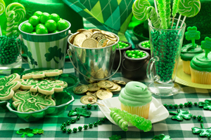 St. Patrick's Day Party Cupcakes and Confectioneries as part of the catering menu and menu decoration