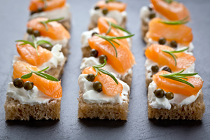 smoked salmon on toast o'dourves